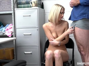 Shy Blonde Sky Pierce Fucked By The Mall Security Guard For Stelling