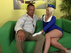 Blonde Stewardess Comes Home And Spreads Her Legs For A Quickie