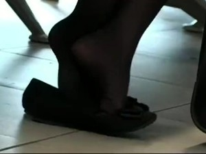 Black Nylons Crunching In Flats