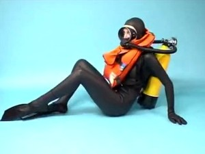 Rubber Scuba Goddess In Beautiful Vintage Gear