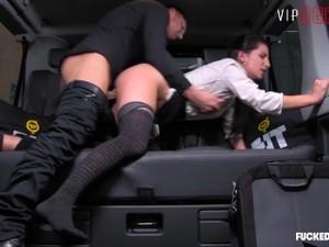 FuckedInTraffic - Brunette Secretary Hardcore Taxi Fuckfest - LETSDOEIT