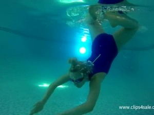 Cute Girl Breathholding Underwater
