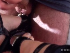 Angela's Amateur Footjob And Handjob In Spandex Clothes And High Heels