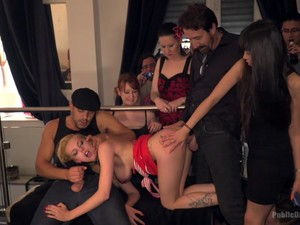 Gagged Whore Takes Dicks In Rough Upper Floor Orgy