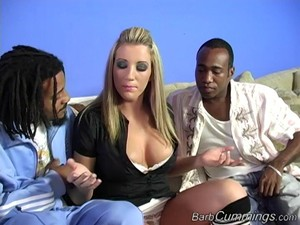 Slutty Blonde Plays With Big Black Cocks In A Close Up Interracial Mmf Threesome