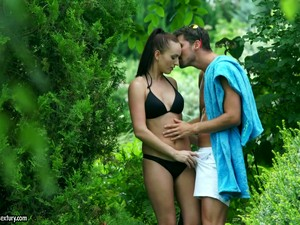 Gal With Small Tits And Long Legs Loves Fucking Sideways In The Forest