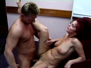 Red Haired Still Horny Mature Slut Gets Old Cunt Fucked On The Table