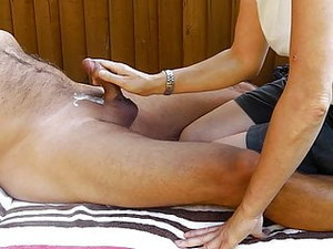 Me Getting Great CFNM Handjob Outdoors From Start To Cumshot