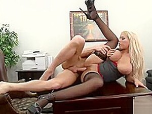 Fine-looking Breasty Bridgette B In Very Hot Alluring Stockings At Workplace