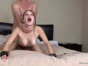 Step-dad Fucks Daughter Hard While In Bondage And Spanking Her Rough Sex