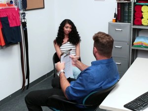 Cute Ebony Shoplifter Gets Banged Hard And Deep In The Security Guard's Office Getting Out Of Proble