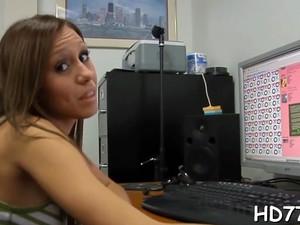 Dazzling Brunette Maid Melanie James Brought To Orgasm