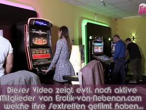 German Teen At Public Flashing Bukkake Gangbang In Casino