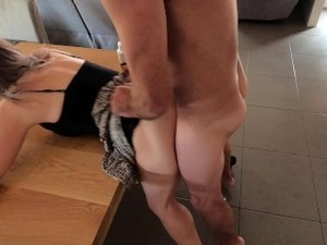 Creampie On Kitchen Table - Double Penetration Orgasm Spasm - MIN MOO