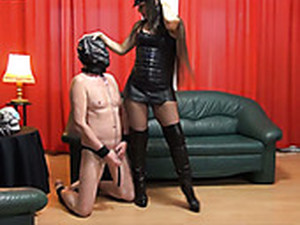 Long Haired Sexy Lady In Cop Cap Loves Fetish Sex With Her Submissive Man