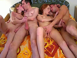 Cock Crazed College Nymphos Take Part In A Foursome