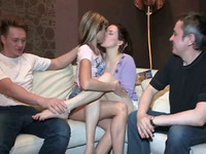 Perverted Dudes Swap Their Girls And Fuck In Foursome Action