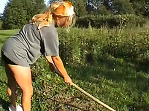 Busty Blond Farm Babe Works In The Field And Tires