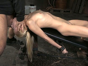 Fixed And Immobilized Flat Chested Blonde Gives Deepthroat Blowjob