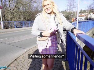 Public Agent British Tourist Gina Varney Sucks Czech Dick