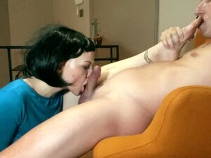 Hot Brunette Edges And Teases Guy, While He Sucks Her Toes