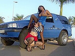 Voluptuous Woman Is Making Love With A Lesbian Chick She Has Just Met, In Her Car