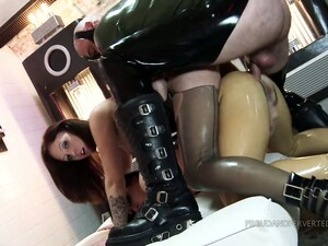 Two Latex Bitches Fuck Each Other And Hot Blooded Dude With Big Hose
