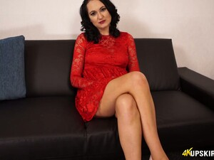 Brunette In Red Dress Bonnie Shows Her Shaved Hungry Pussy Upskirt
