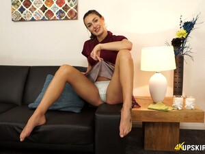 Lubricious Housewife Laura Performs Her Nice Panties Upskirt