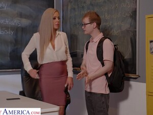 Busty German Teacher Nina Elle Gives A Wonderful Blowjob And Bangs Student Right On The Table
