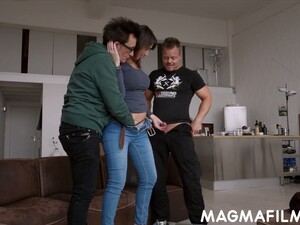 Two Dudes Fuck Wet Cunt Of Nasty Milf Daphne And Cum On Her Boobs