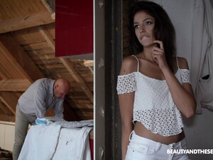 Lovely Brunette Babe Bunny Love Seduces Old Carpenter