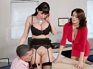 Gorgeous Cougar With Big Tits Enjoying A Hardcore Threesome Fuck In Her Office