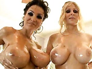Two Oiled Up Sluts Do A Foursome