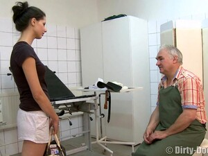 Young Brunette Teen Screaming As Old Guy Fucks Her Missionary
