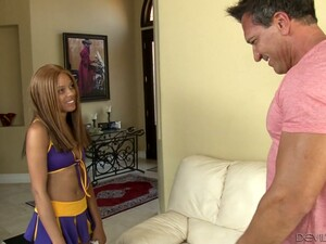 This Slim Cheerleader Is Super Horny And She Wants To Fuck All The Time