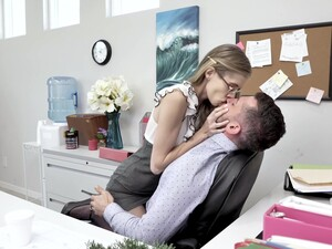 Skinny Long Legged Nerdy Secretary Rides And Sucks Strong Cock In The Office