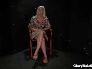 Emily Right Is Sucking A Stranger's Cock Through A Gloryhole And Getting Ready To Eat Some Cum