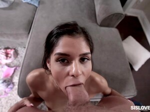 Skinny Honey, Katya Rodriguez Is Licking Her Horny Partner's Large Penis, While In His Apartment