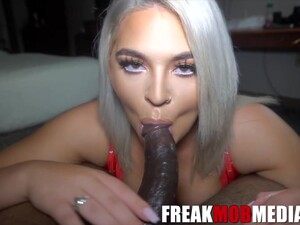 Big Ass Blonde In Red Lingerie, Rharri Is About To Have Wild Sex With A Black Guy