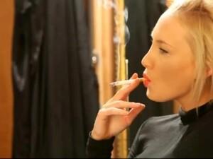 Candid Blonde Smoking