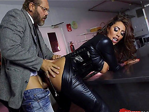 Skintight Leather Catsuits On Pornstars Using His Big Dick