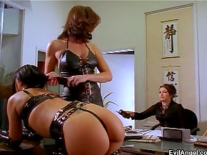 Amazing Brunette Shows Off Her Nice Ass In Enticing Leather Thong