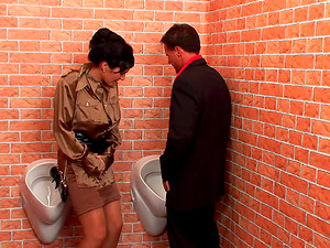 In A Public Bathroom He Fucks Two Chicks Them Pisses On Them Both