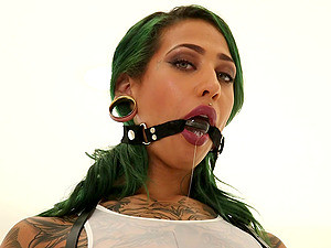 Ball Gagged Babe With Big Tits And Tattoos Fucks Two Guys