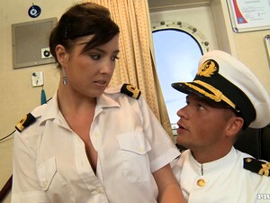 Horny Stacy Seducing A Captain In His Room
