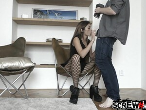 Spanish Babe In Fishnet Pantyhose Penelope Cum Is Fucked In Deep Throat