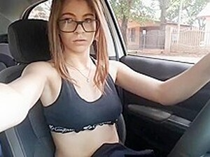 Hot College Girl Having Orgasm Alone In Her Car