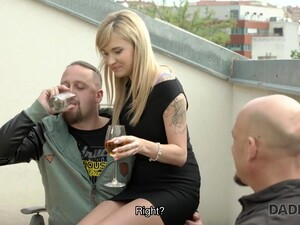 Blonde Shows Her Pole-dance Skills To Bald Dad Of Her BF
