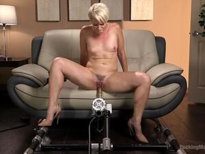 Bombshell Short Haired Blonde MILF Helena Locke Fucked By A Machine
